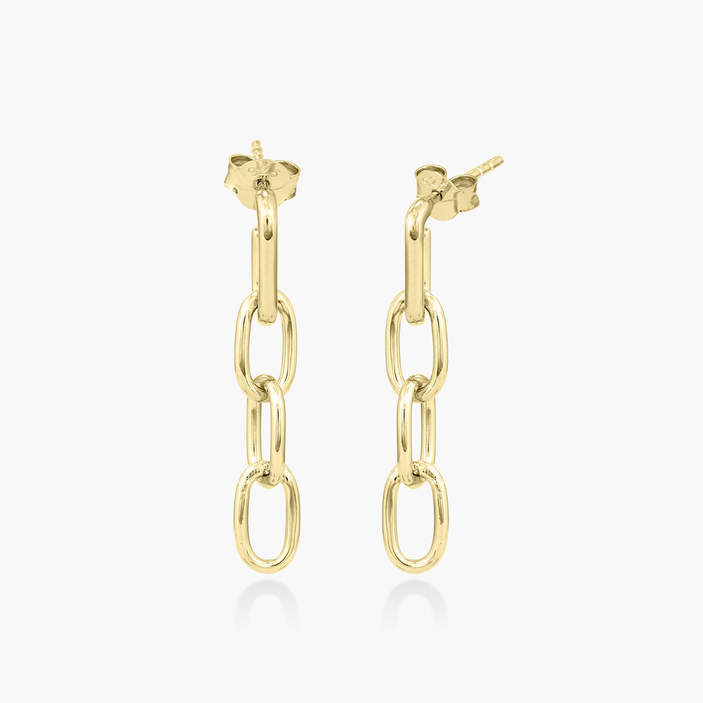Cuban Link Chain Stud Earring - Gold Plated