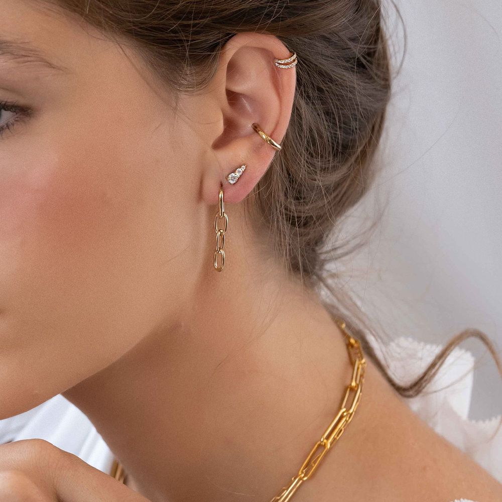Cuban Link Chain Stud Earring - Gold Plated - 1