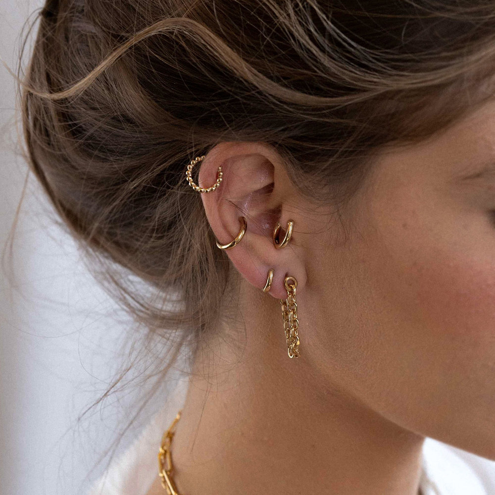 Beaded Ear Cuff Cartilage Hoop Earrings - Gold Plated - 1