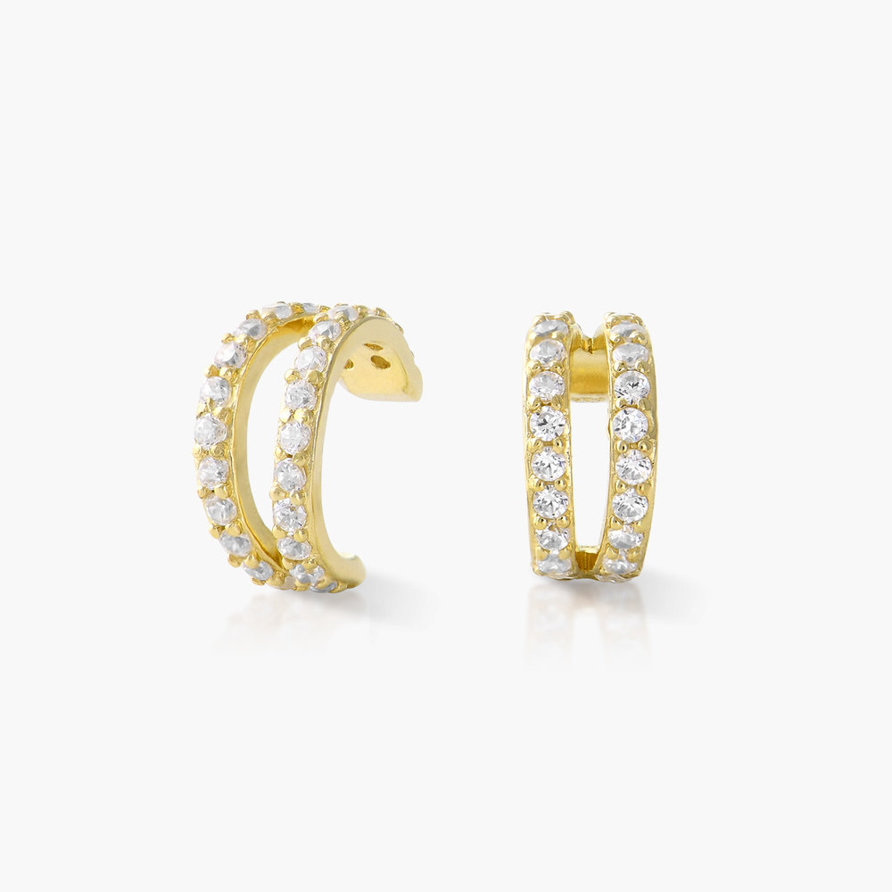 Double Band Ear Cuffs with Cubic Zirconia - Gold Plated