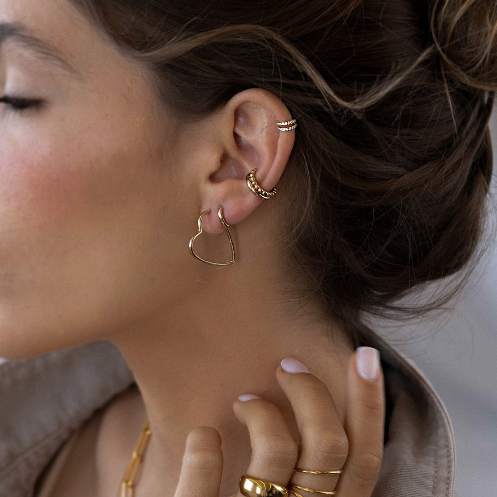 Double Band Ear Cuffs with Cubic Zirconia - Gold Plated - 1