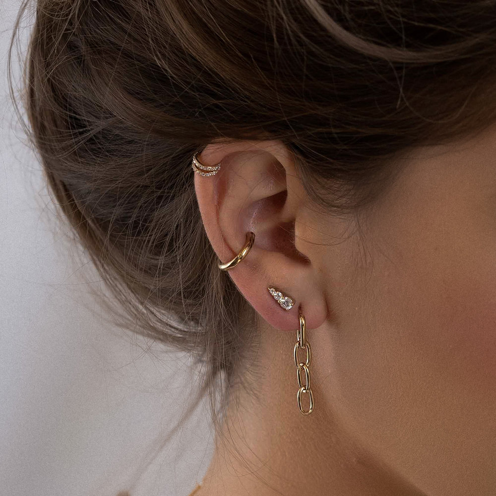 Double Band Ear Cuffs with Cubic Zirconia - Gold Plated - 2