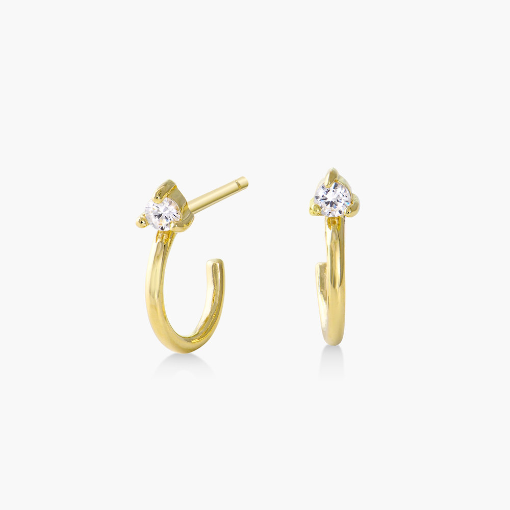 Stud Hoop Earring with Single Zirconia - Gold Plated