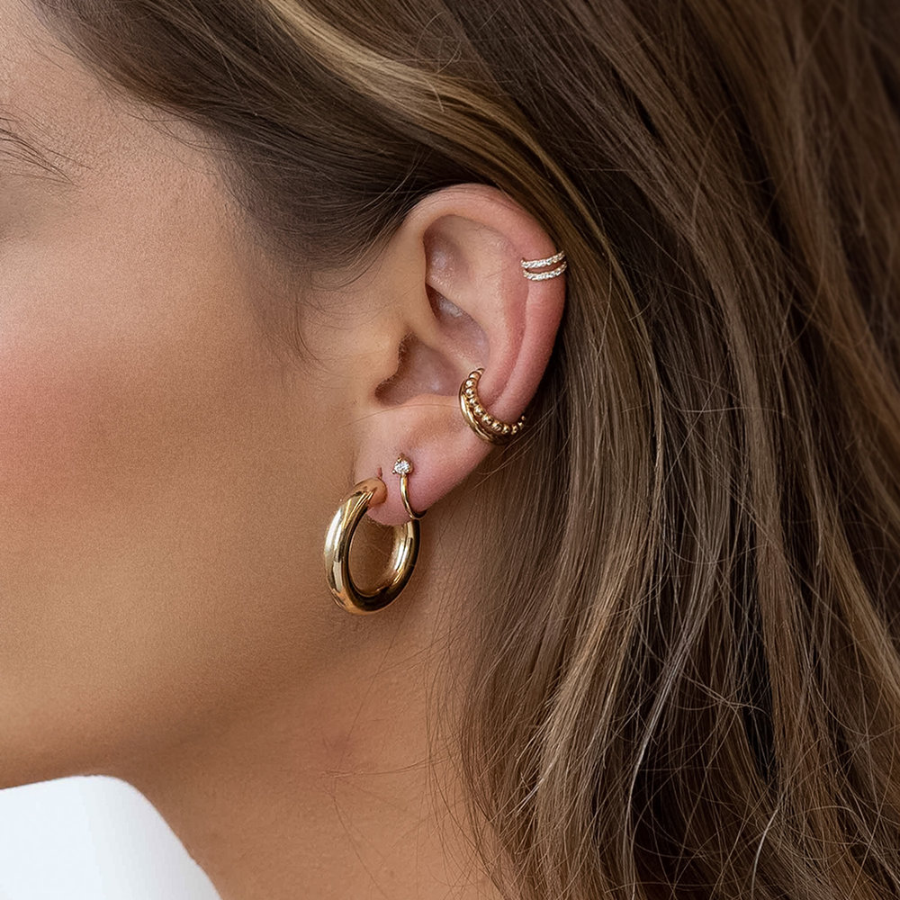 Stud Hoop Earring with Single Zirconia - Gold Plated - 1