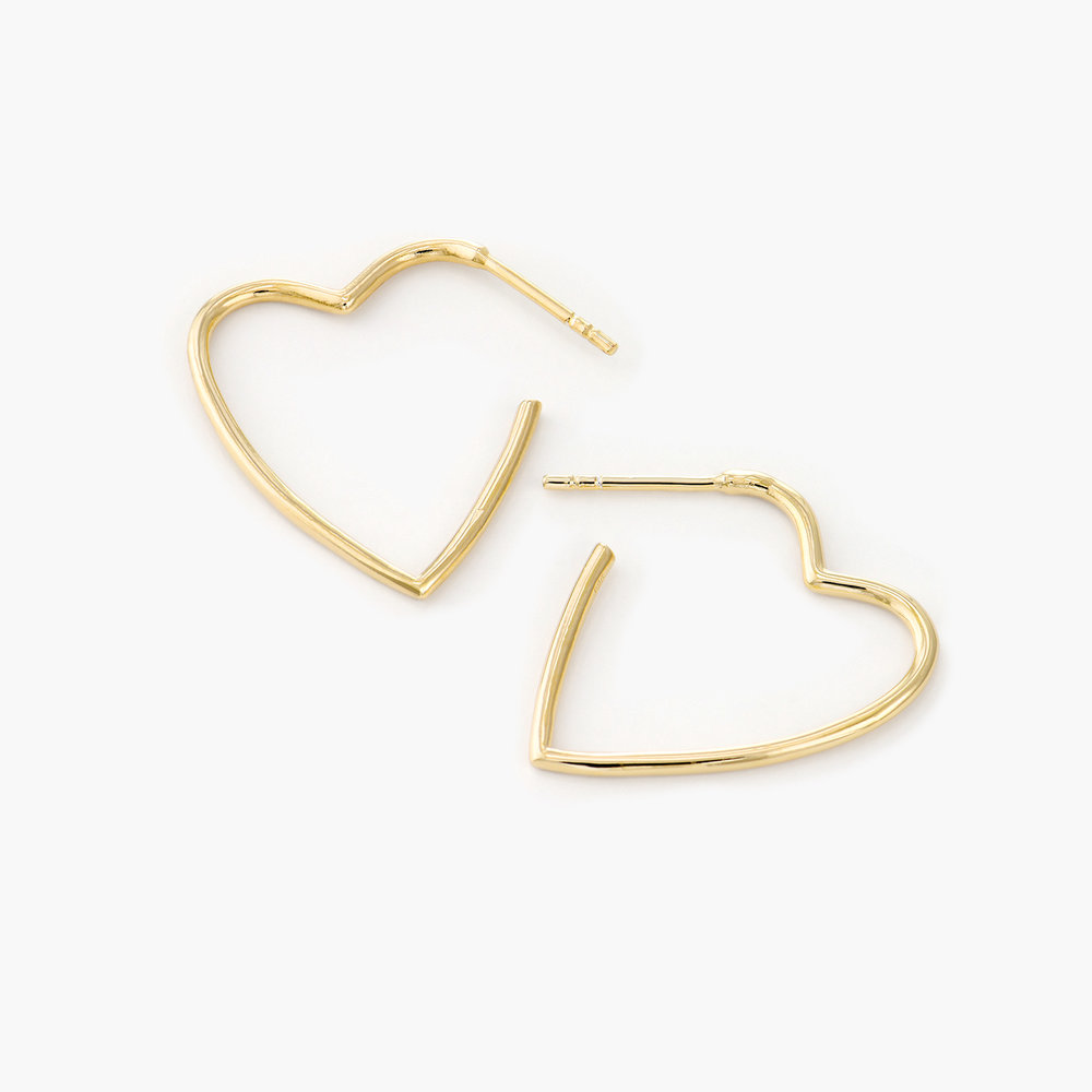 Big Hoop Heart Stud Earrings - Gold Plated
