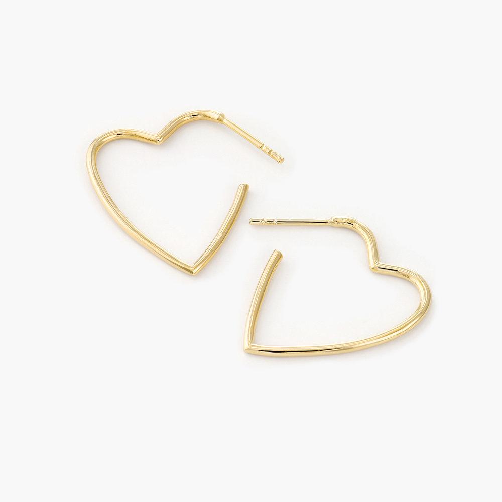 Big Hoop Heart Stud Earrings - Gold Plated