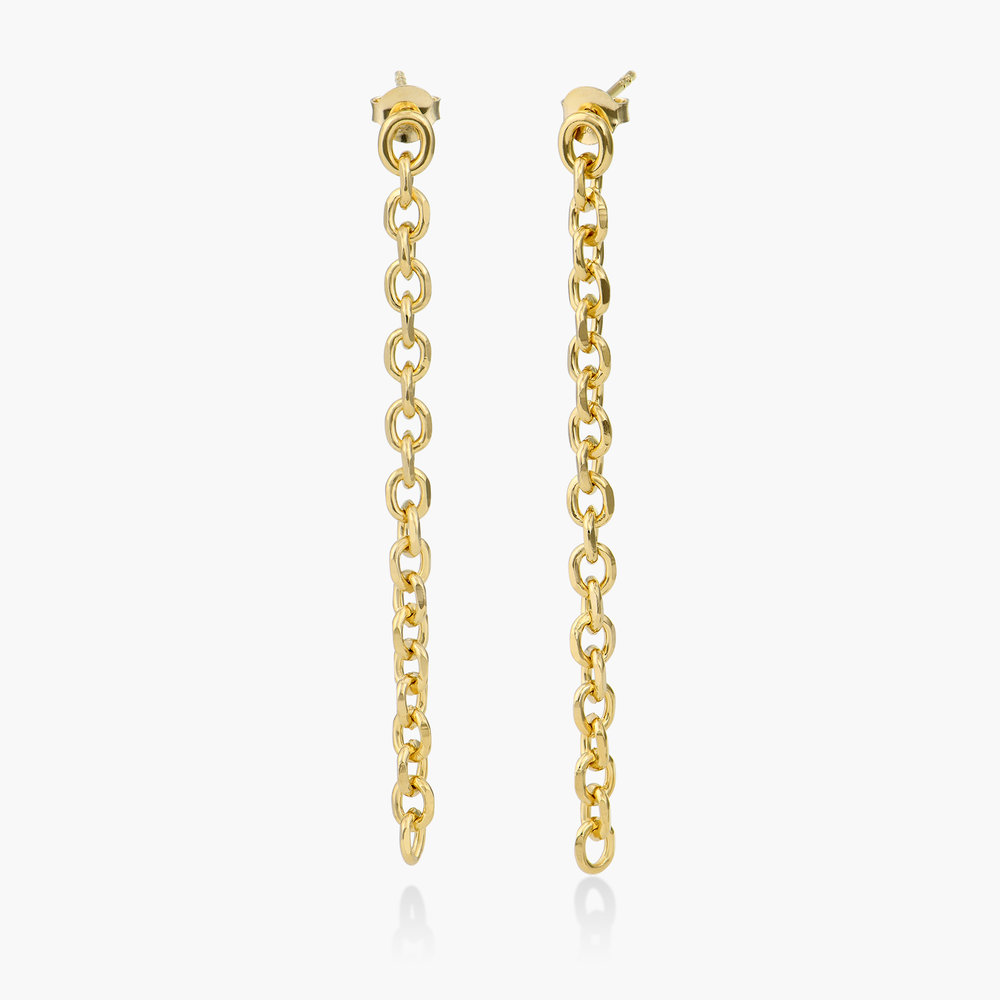Long Chain Stud Earring - Gold Plated