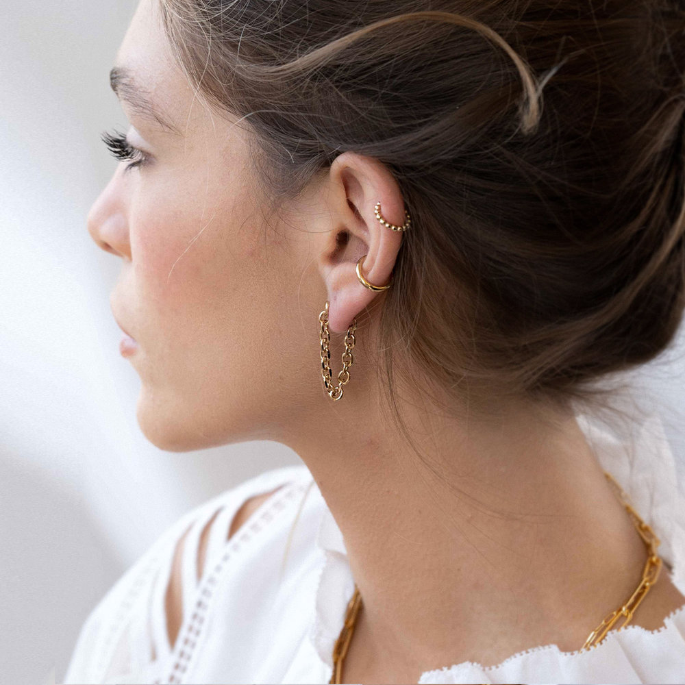 Long Chain Stud Earring - Gold Plated - 2