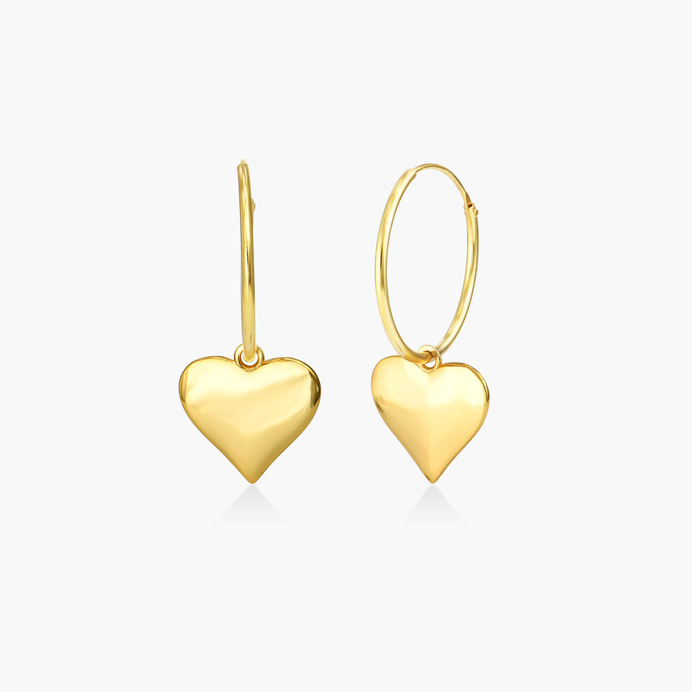 Hoops with Heart Charm Earring - Gold Plated
