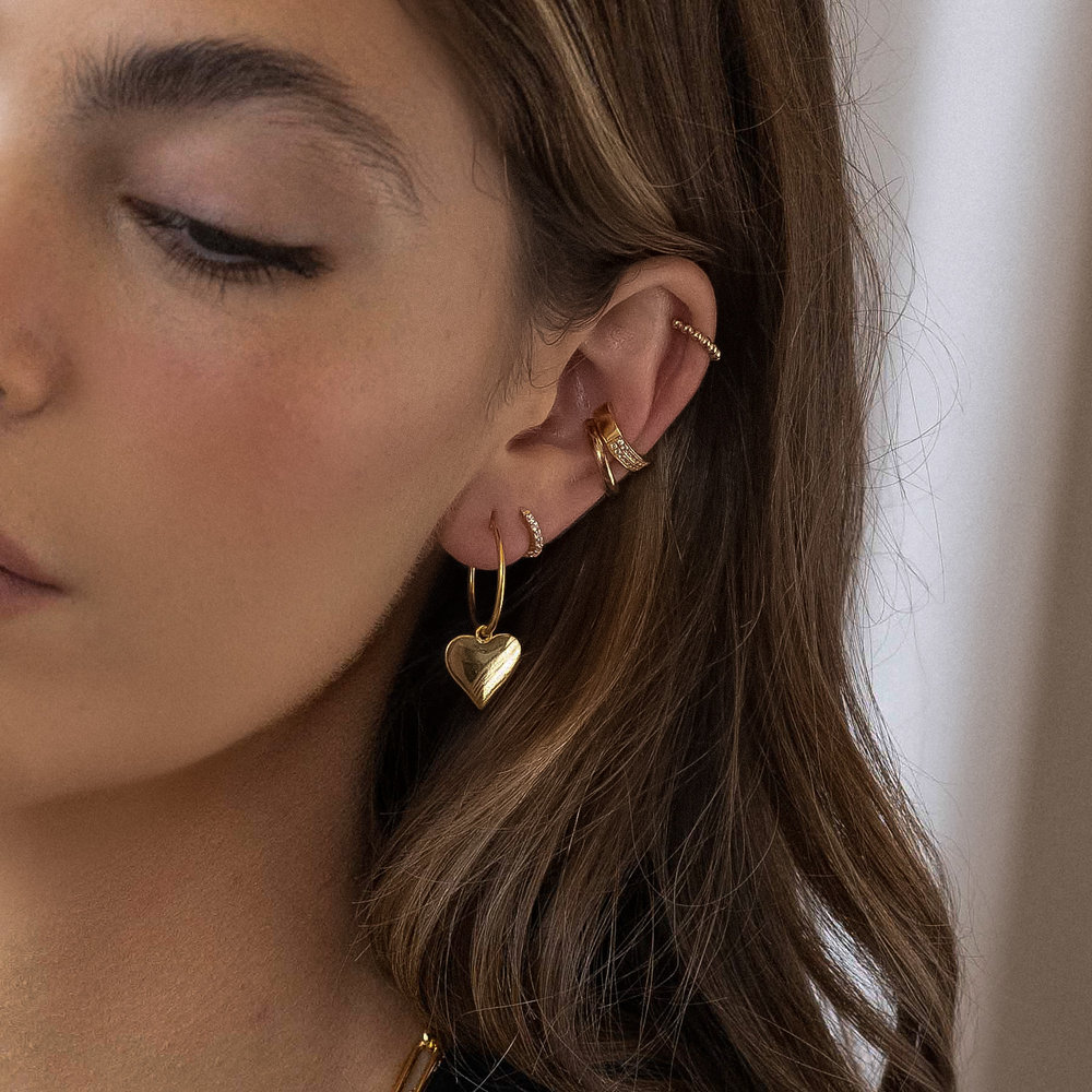 Hoops with Heart Charm Earring - Gold Vermeil - 1