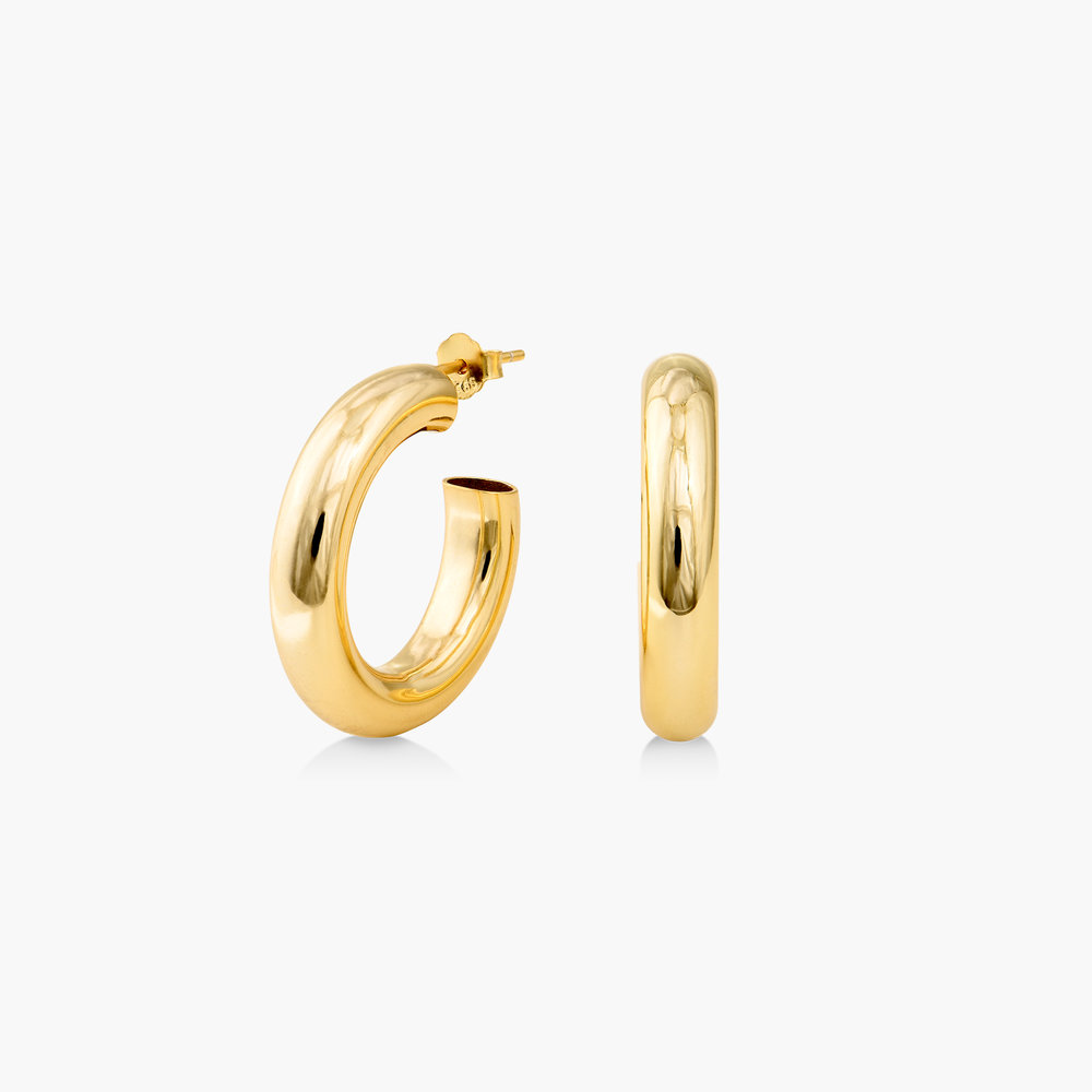 Chunky Hoop Earrings - Gold Plated