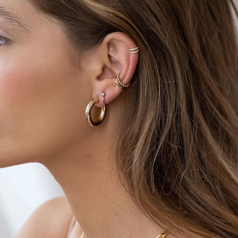 Chunky Hoop Earrings - Gold Vermeil - 1