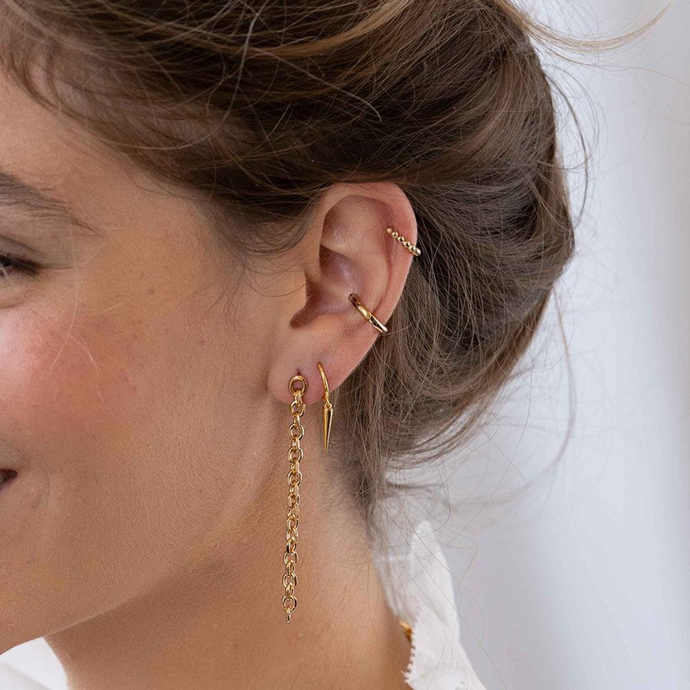 Spike Hoop Earrings - Gold Vermeil - 1