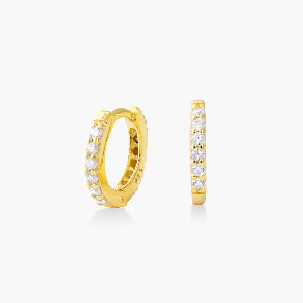 Huggie Hoop Earring with Cubic Zirconia - Gold Plated