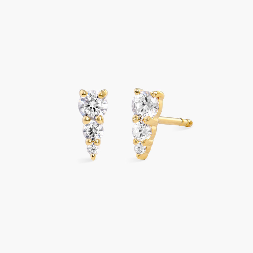 Cubic Zirconia Stud Earrings - Gold Plated