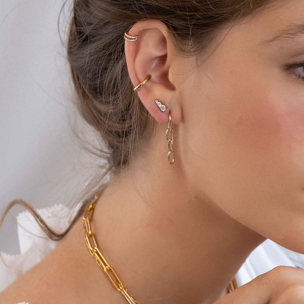 Cubic Zirconia Stud Earrings - Gold Plated - 1