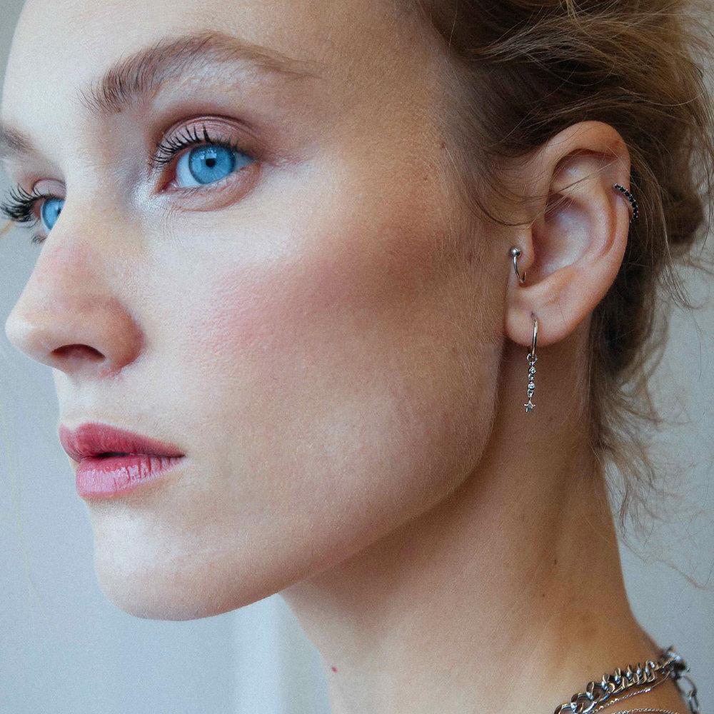 Star Hoop Earrings - Sterling Silver - 1