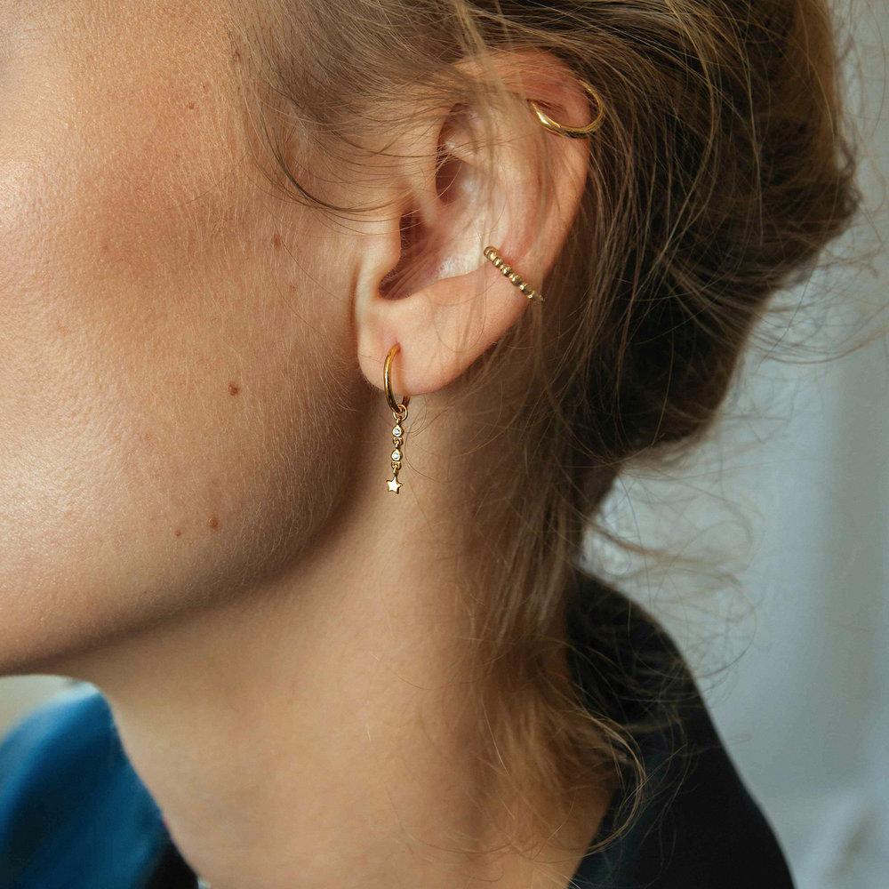 Star Hoop Earrings - Gold Plated - 1
