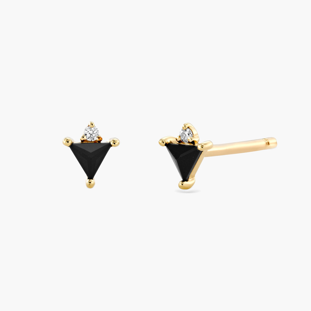 Cora Black Spinel Stud Earrings with Diamonds - 14K Solid Gold
