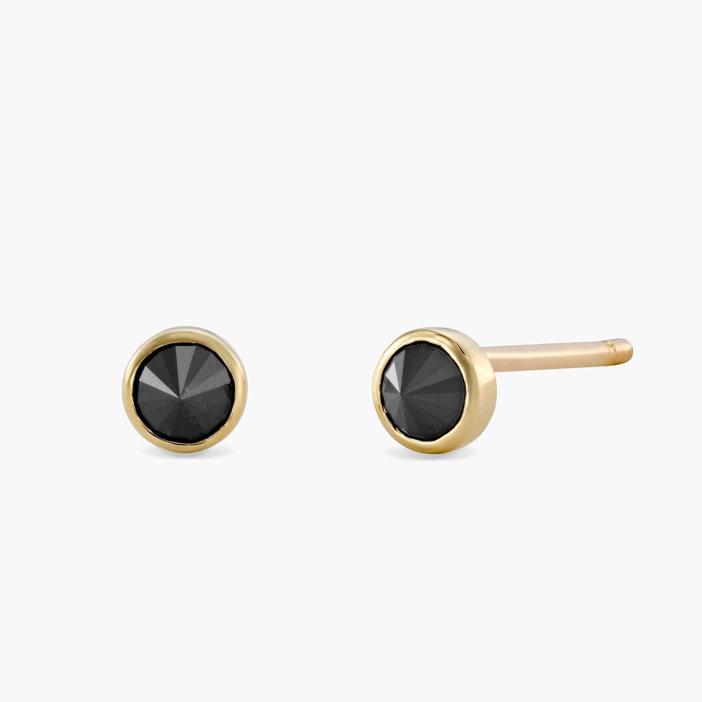 Darla Black Round Diamond Stud Earrings - 14K Solid Gold