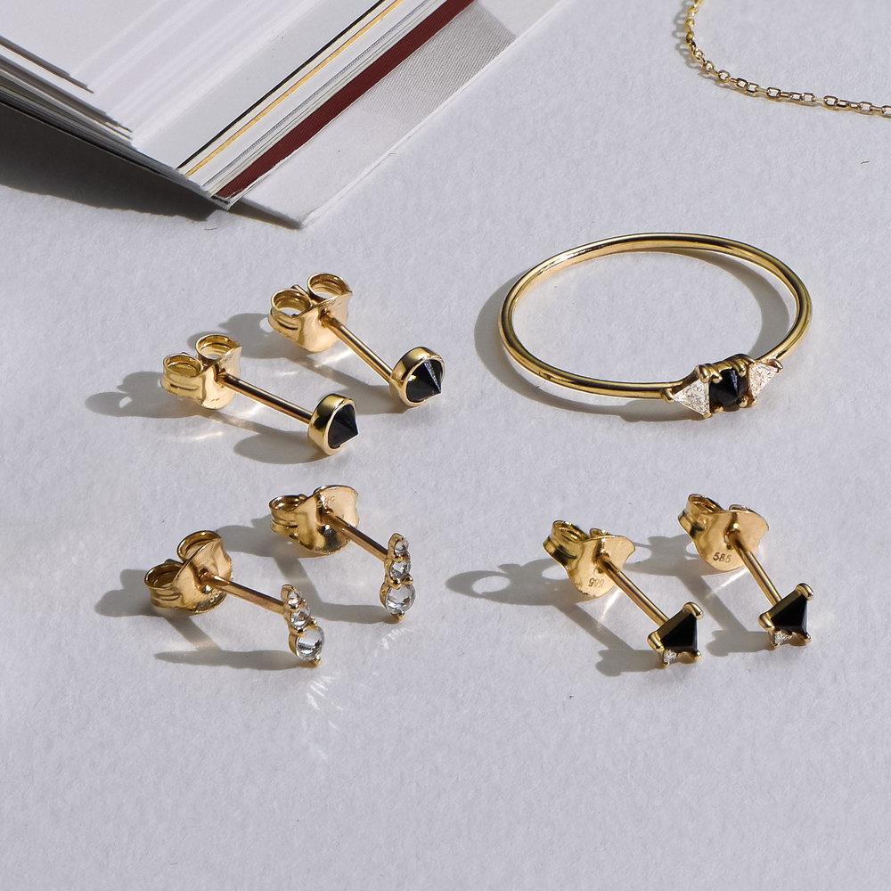 Darla Black Round Diamond Stud Earrings - 14K Solid Gold - 1