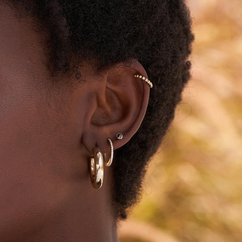 Darla Black Round Diamond Stud Earrings - 14K Solid Gold - 2