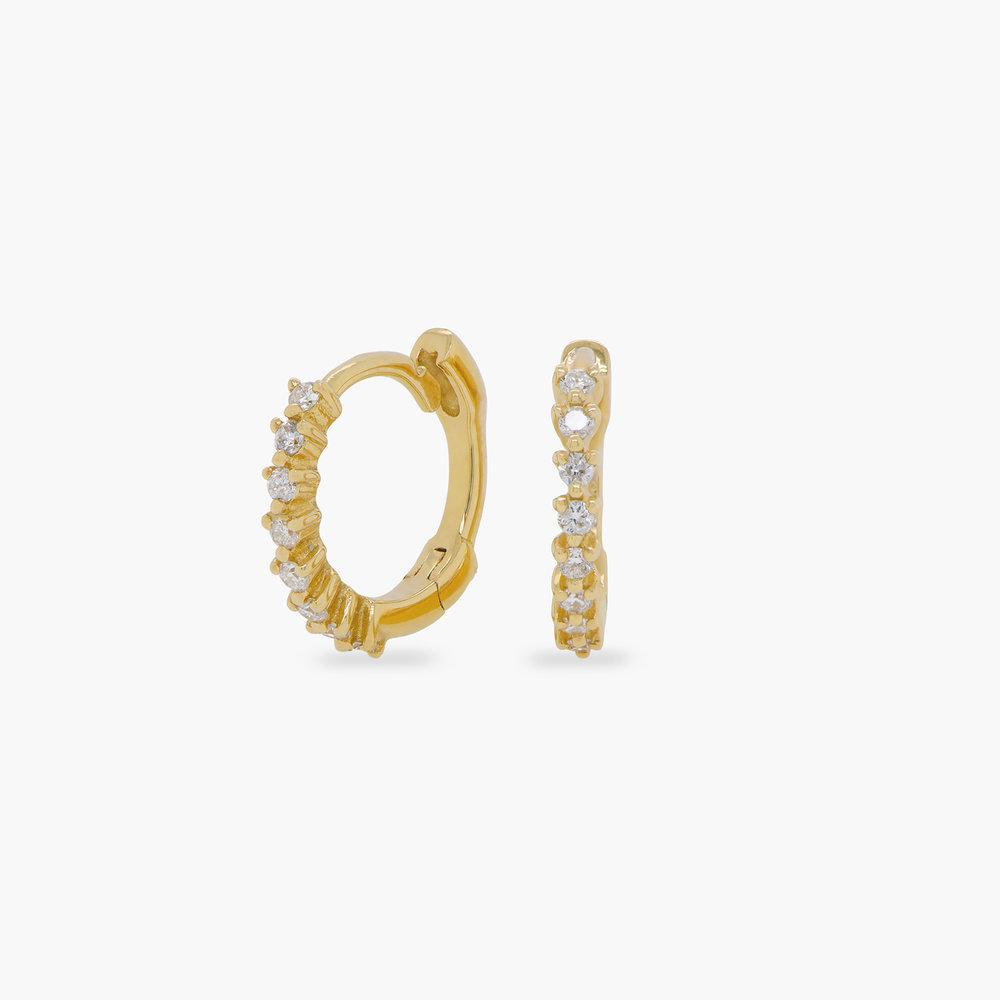 Florentine Diamond Hoop Earrings - 14K Solid Gold