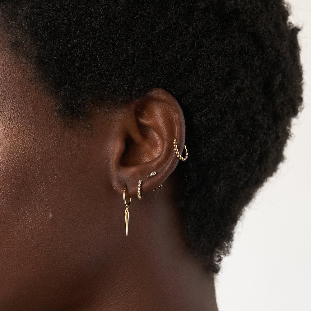 Florentine Diamond Hoop Earrings - 14K Solid Gold - 1