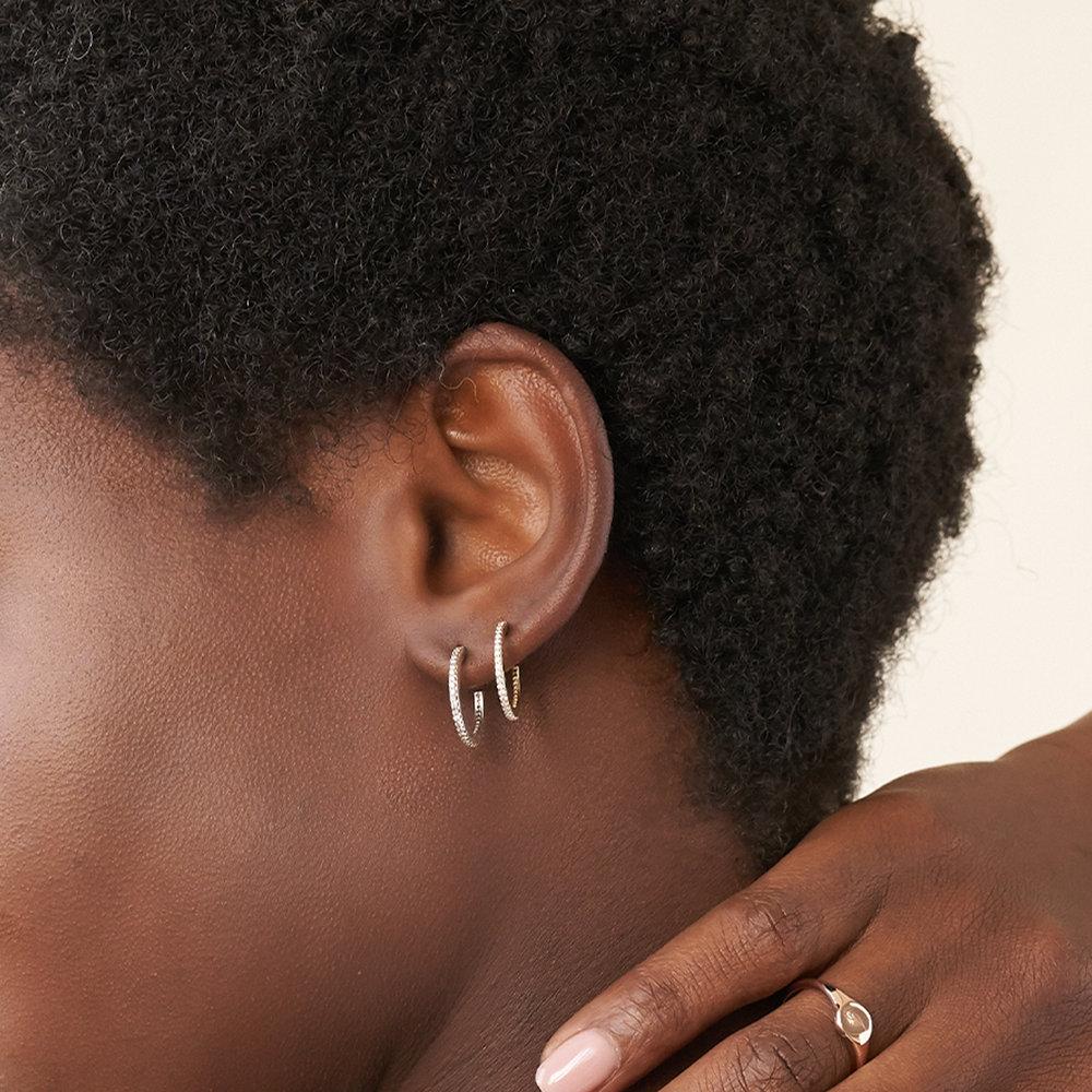 Fiona Diamond Hoop Earrings - Sterling Silver - 2