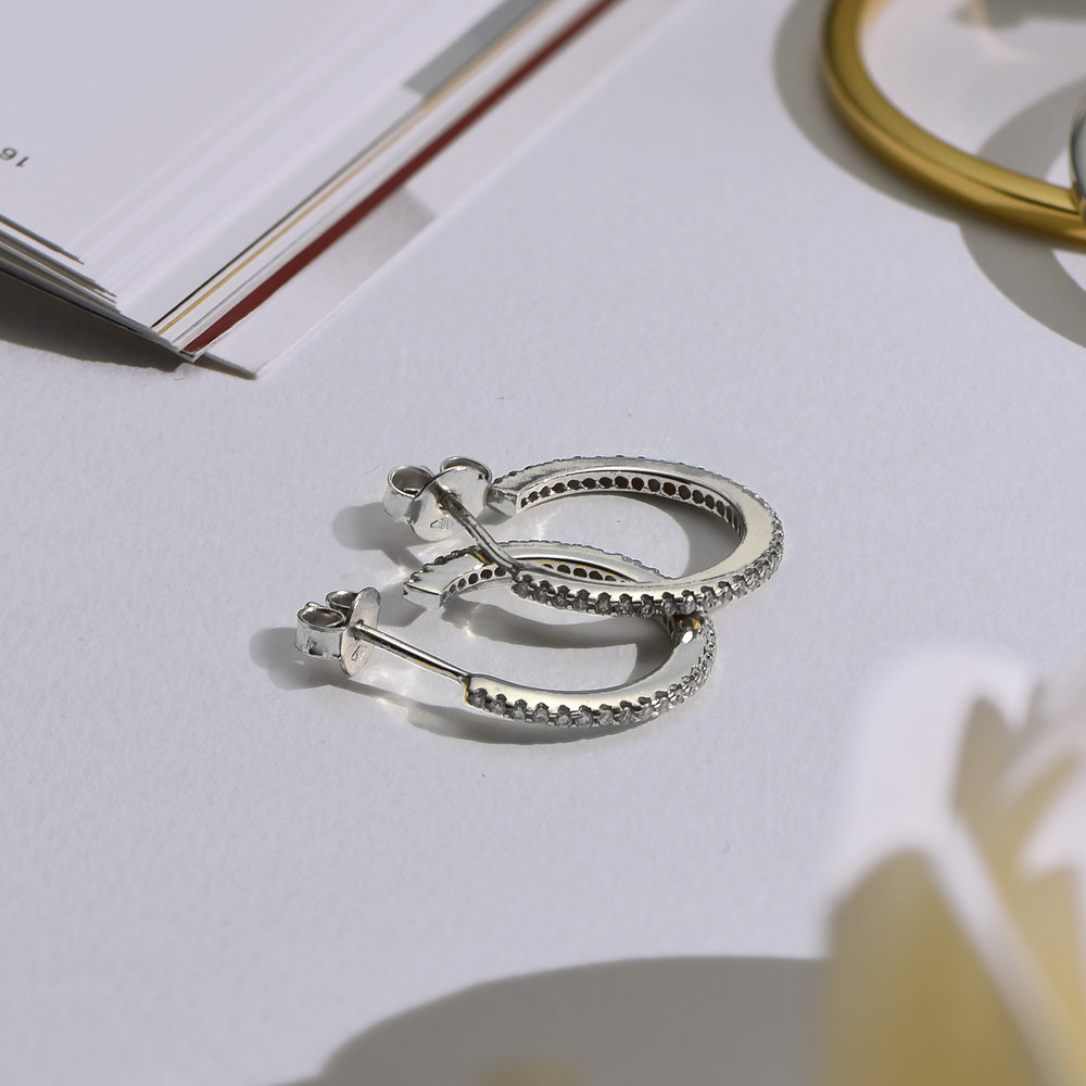 Fiona Diamond Hoop Earrings - Sterling Silver - 3