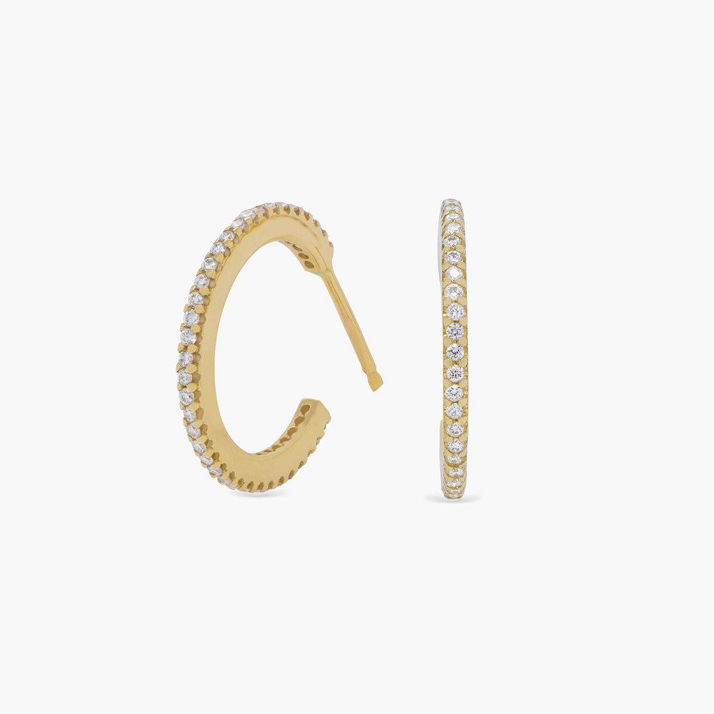 Fiona Diamond Hoop Earrings - 14K Solid Gold