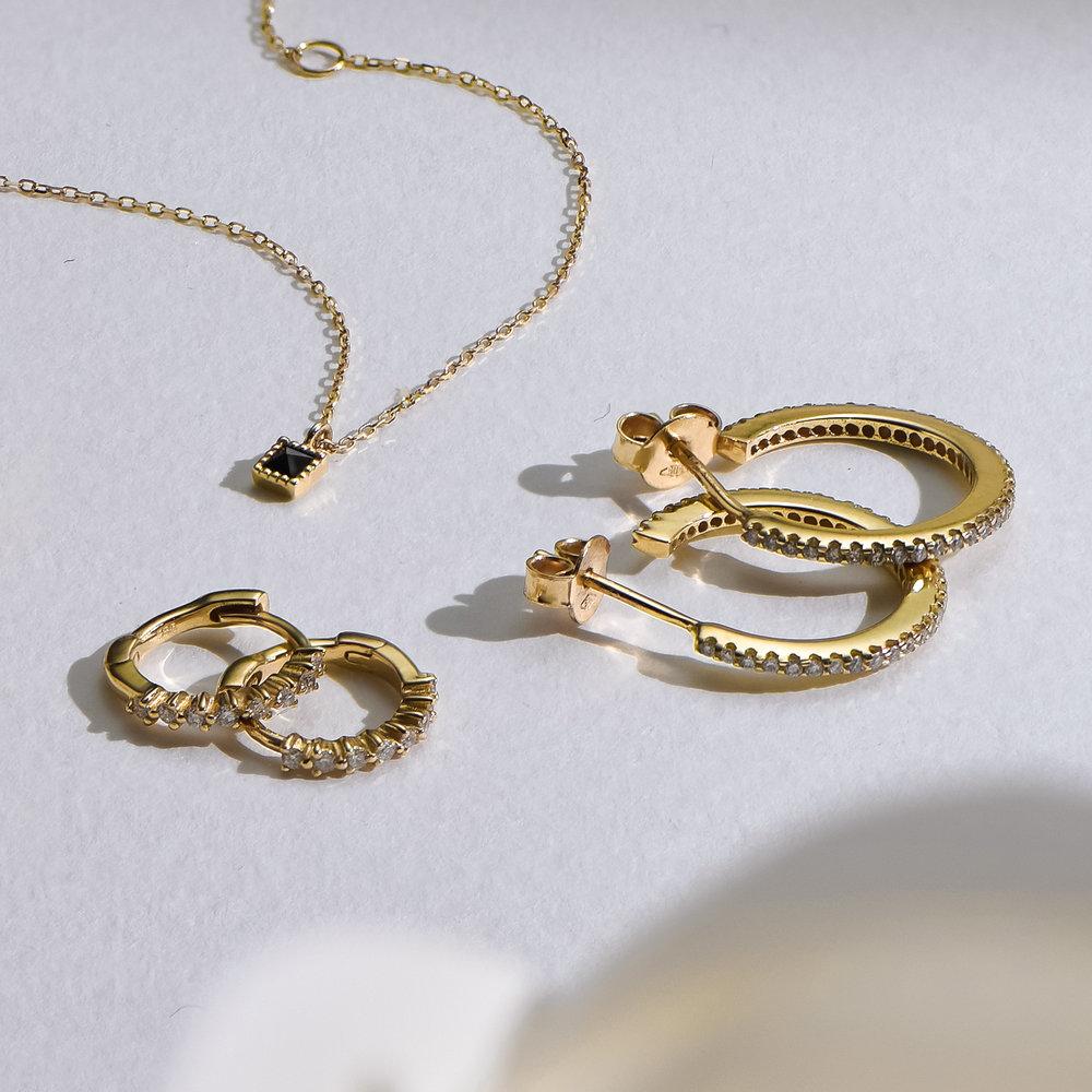 Fiona Diamond Hoop Earrings - 14K Solid Gold - 3