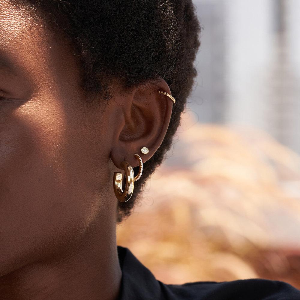 Alice Diamond Pave Stud Earrings - 14K Solid Gold - 1