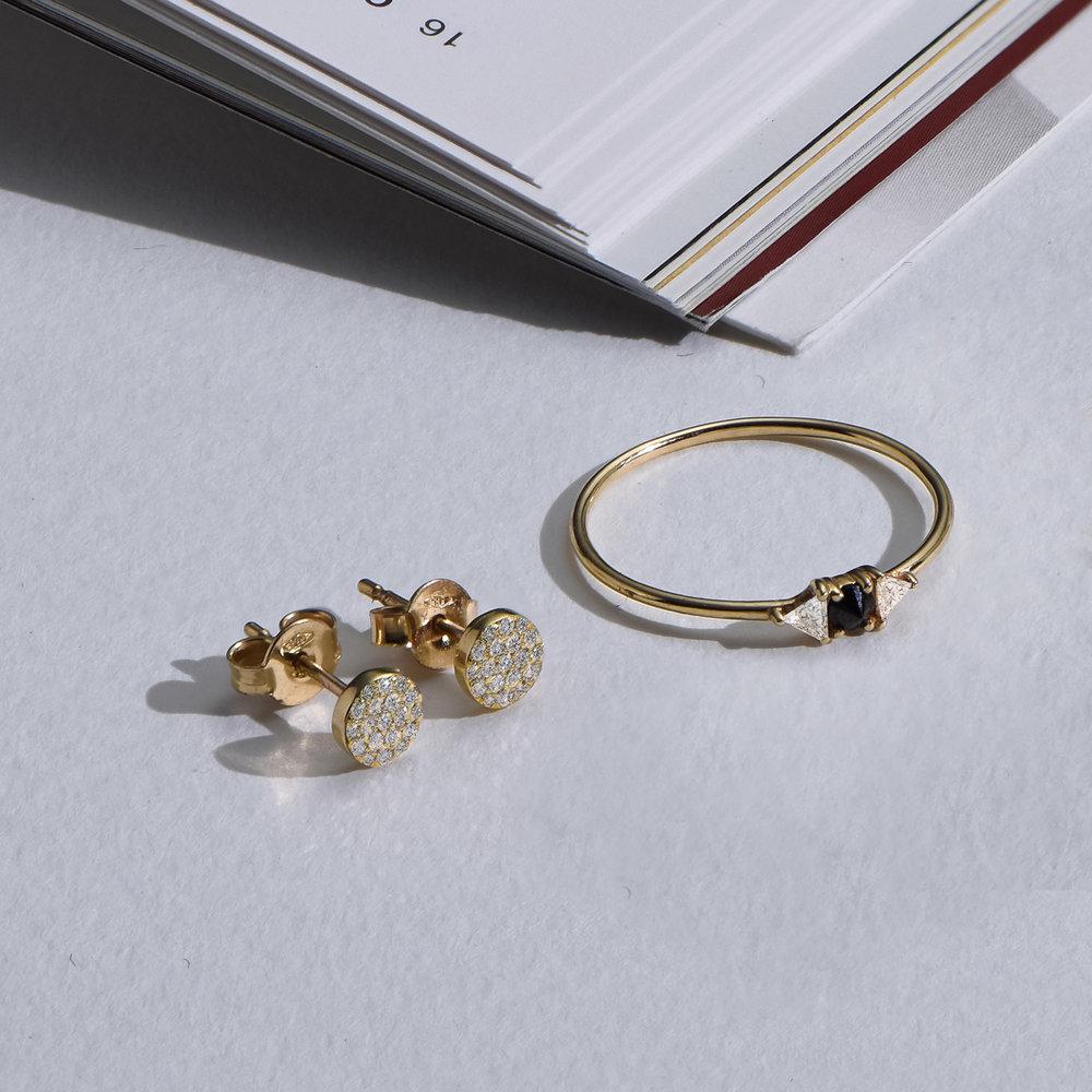 Alice Diamond Pave Stud Earrings - 14K Solid Gold - 2