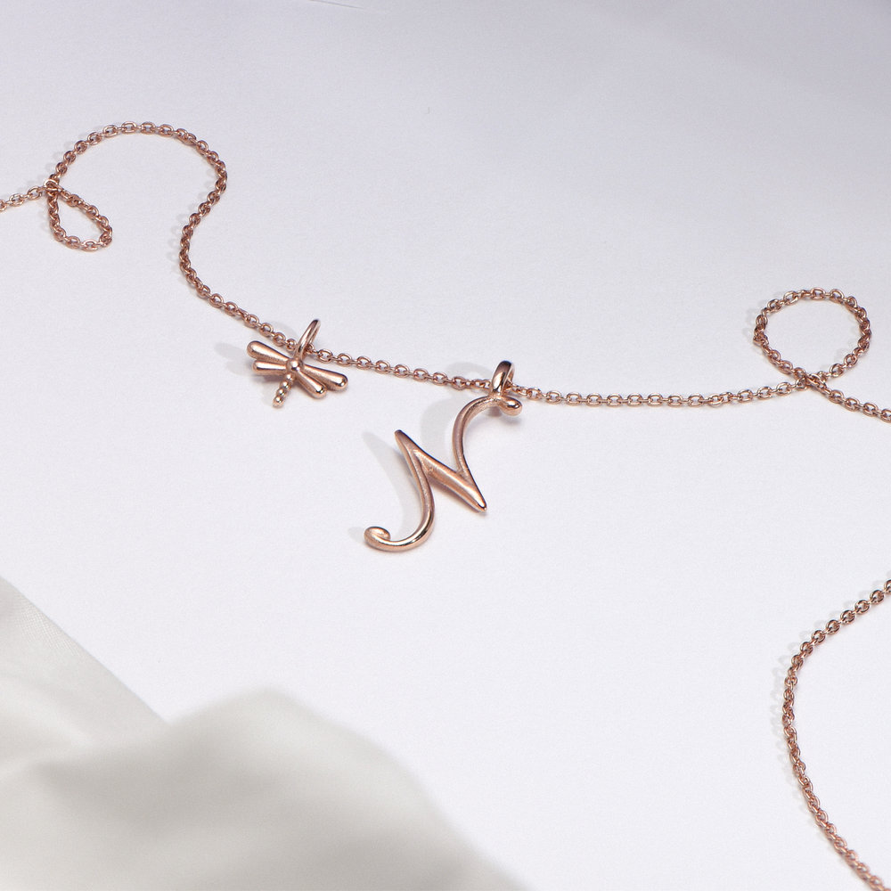 Dragonfly Charm - Rose Gold Plating - 1