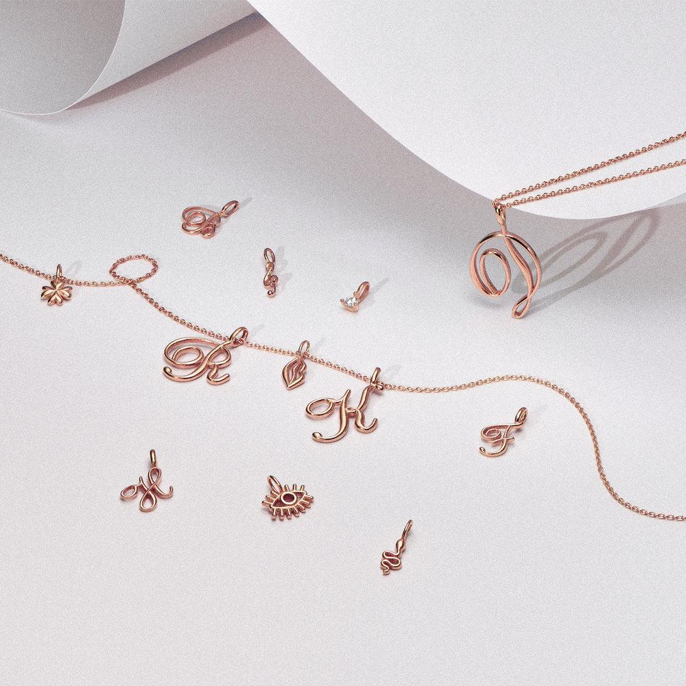 Four Leaf Clover Charm - Rose Gold Plating - 1