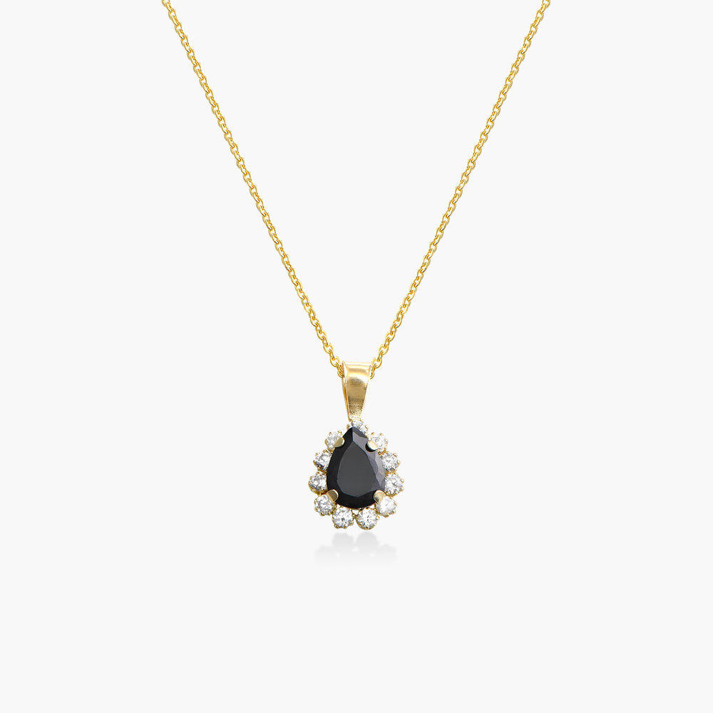 Black Sapphire and Cubic Zirconia Pendant Necklace - 14K Gold