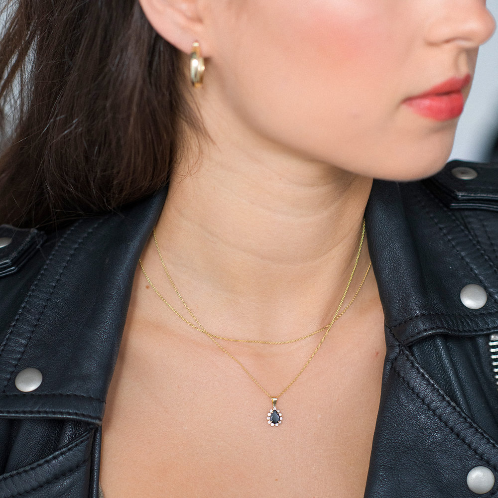 Black Sapphire and Cubic Zirconia Pendant Necklace - 14K Gold - 1