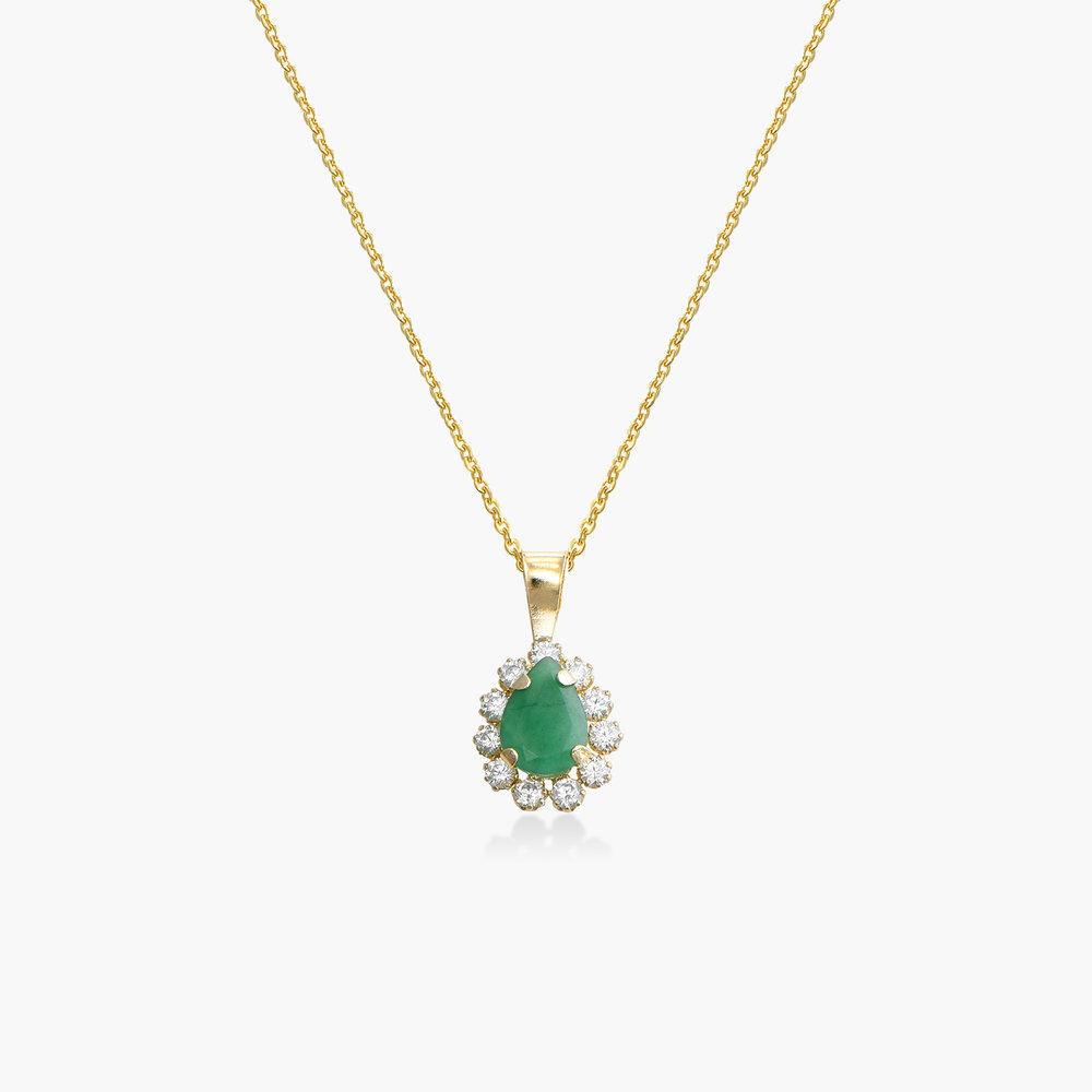 Emerald and Cubic Zirconia Pendant Necklace - 14K Gold
