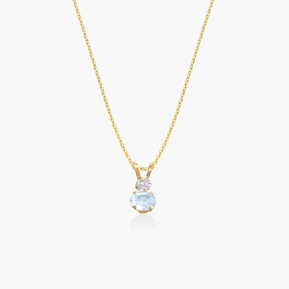 Aquamarine and Cubic Zirconia Pendant Necklace - 14K Gold