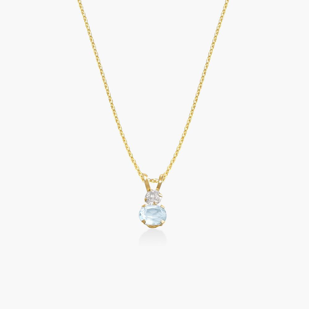Aquamarine and Cubic Zirconia Pendant Necklace - 14K Solid Gold
