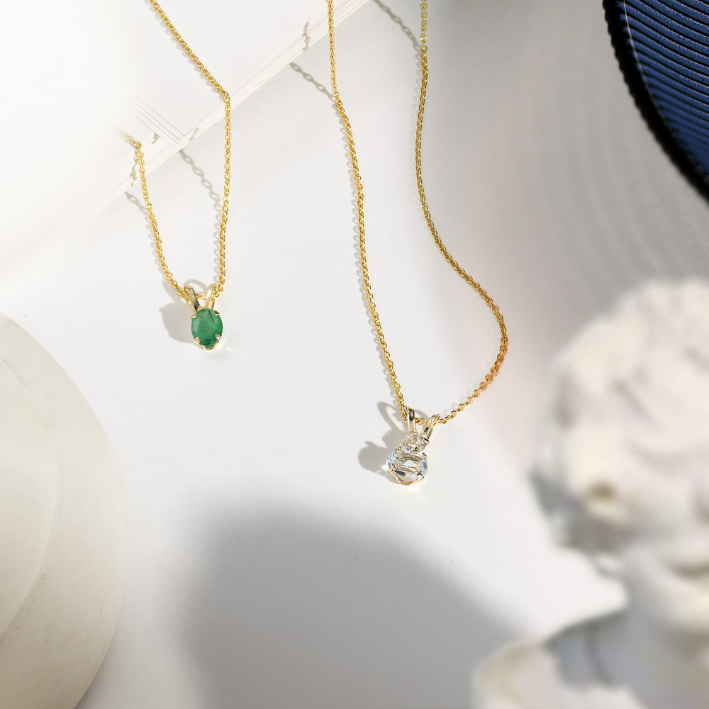 Aquamarine and Cubic Zirconia Pendant Necklace - 14K Solid Gold - 1