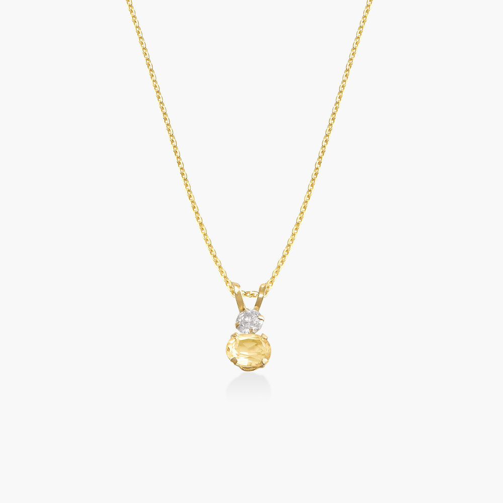 Citrine and Cubic Zirconia Pendant Necklace - 14K Solid Gold
