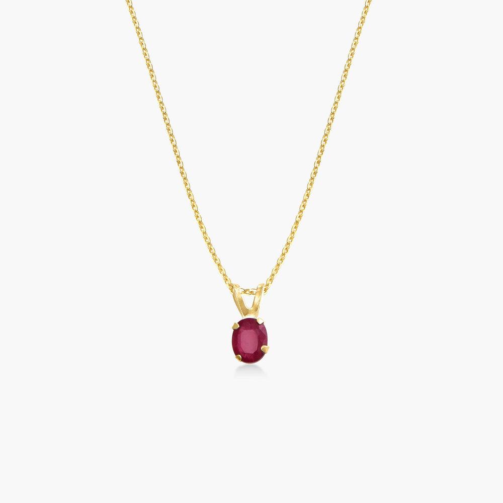 Ruby Pendant Necklace - 14K Gold