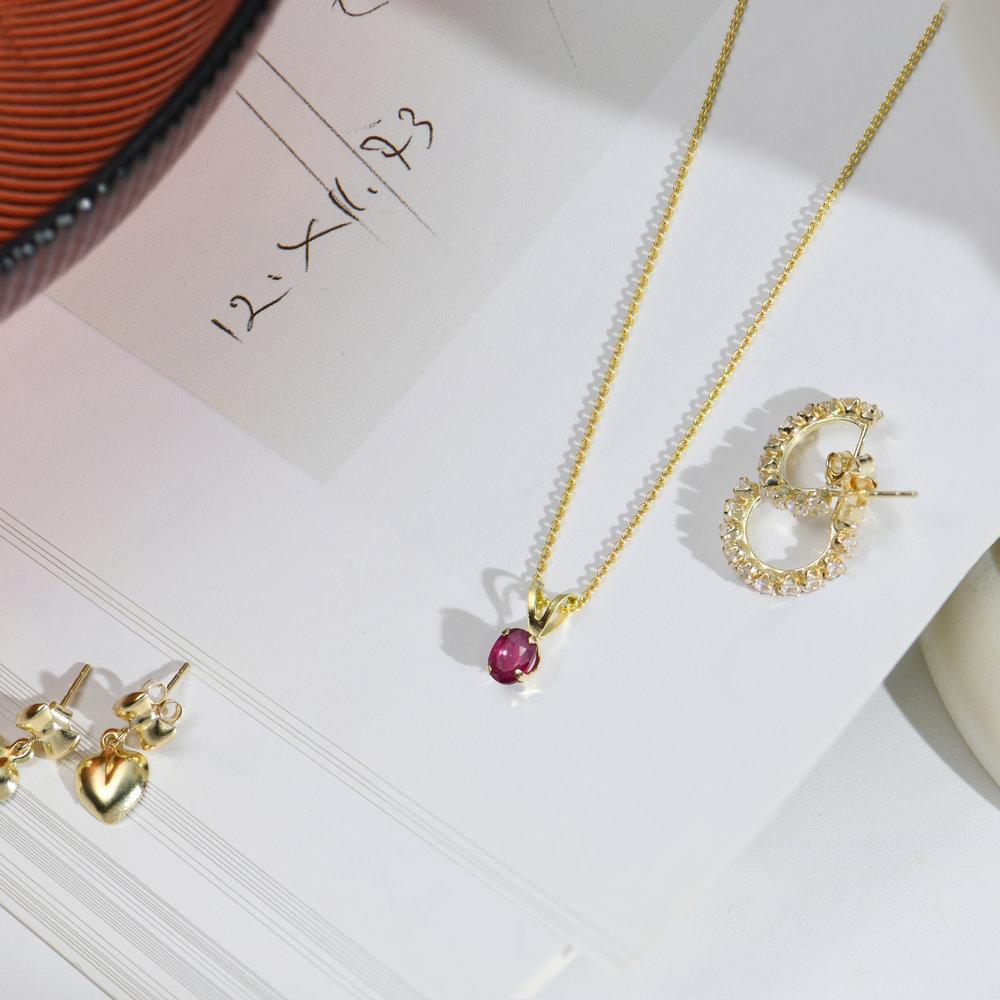 Ruby Pendant Necklace - 14K Gold - 1
