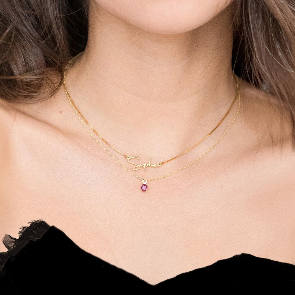 Ruby Pendant Necklace - 14K Gold - 3