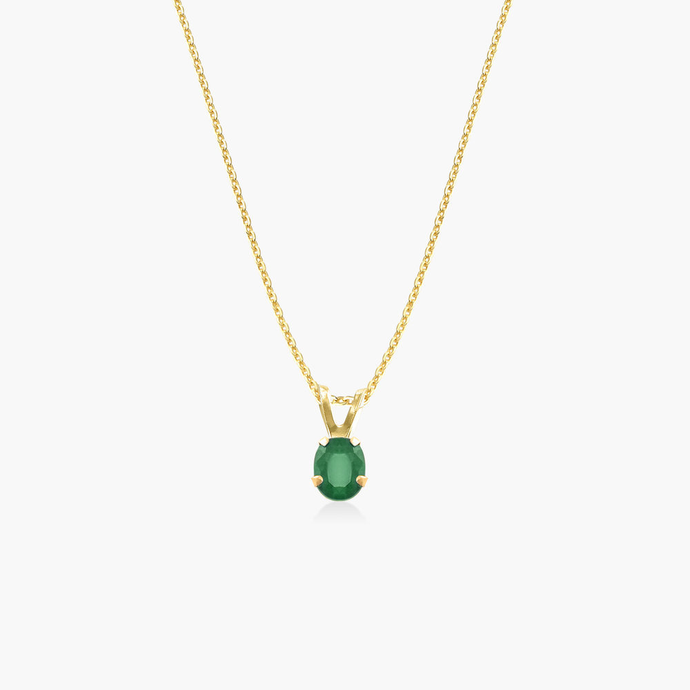Emerald Pendant Necklace - 14K Solid Gold