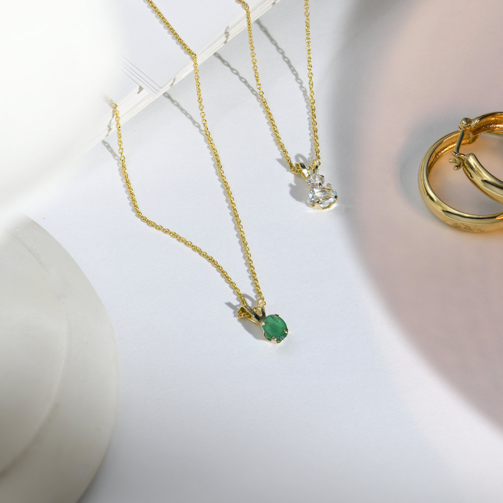 Emerald Pendant Necklace - 14K Solid Gold - 1