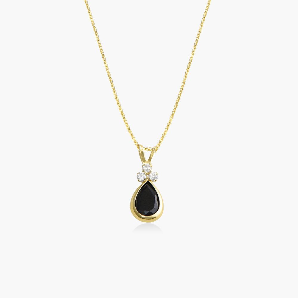 Black Sapphire Pendant Necklace - 14K Gold