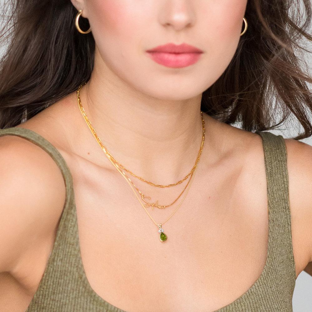 Peridot Pendant Necklace - 14K Gold - 1